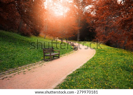 Autumn colors park at sunny day - stock photo