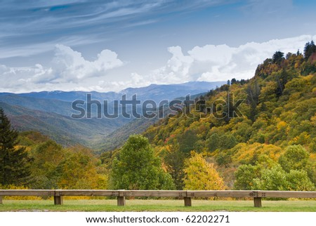 Autumn colors view from Newfound Gap Road on Smoky Mountains - stock photo