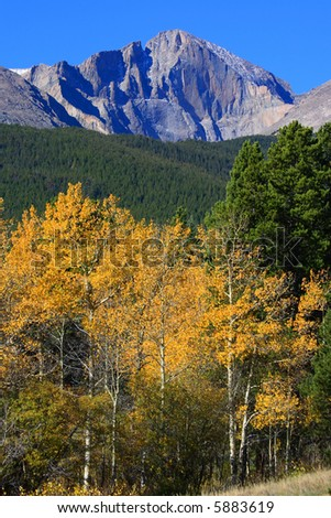 Autumn colors with 14,259 ft Longs Peak. Blue sky, bright colors and Incredible mountain peak. - stock photo