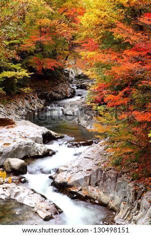 Autumn colours of Nakatsugawa valley in Fukushima, Japan - stock photo