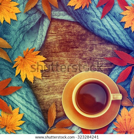 Autumn concept background.Colorful yellow orange leaves and cup of tea.  - stock photo