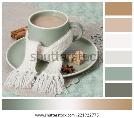 Autumn Concept. Cup Of Hot Tea With Sweets. Yarn Knitting. Palette With Complimentary Colour Swatches. - stock photo