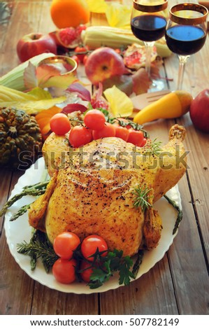 ... food. Golden rustic and stuffed roast turkey. Thanksgiving Day