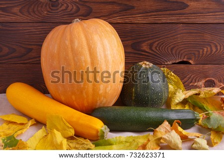 Autumn concept of vegetables on a brown wooden background