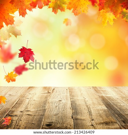 Autumn concept with empty wooden planks and falling leaves - stock photo