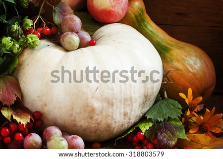 Autumn concept with seasonal fruits and pumpkin, organic food background, autumn harvest from the farm, selective focus - stock photo