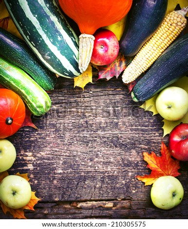 Autumn concept with seasonal fruits and vegetables/ organic food background; Autumn harvest with Farmers Vegetable fruits on dark wooden background/Thanksgiving day concept - stock photo