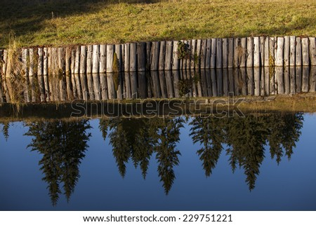 Autumn coniferous forest landscape reflection in a lake - stock photo