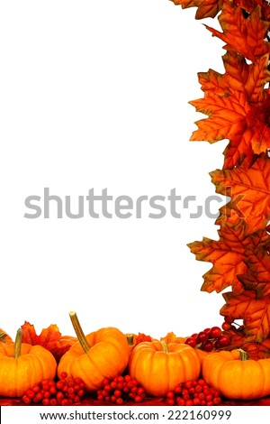 Autumn corner border of pumpkins and red leaves over white - stock photo