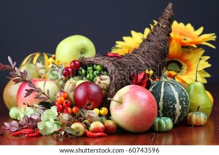Autumn cornucopia - symbol of food and abundance - stock photo