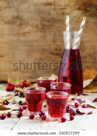 Autumn cranberry cocktail on the old wooden background, selective focus - stock photo