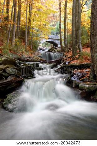 autumn creek in bohemia - stock photo