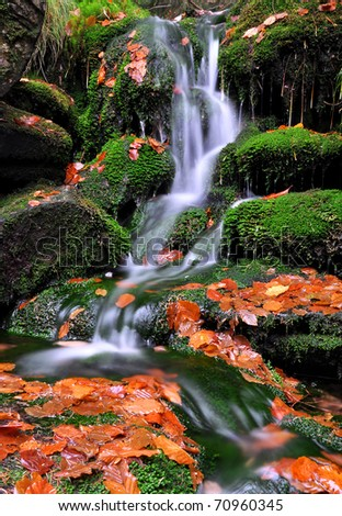 autumn creek in bohemia - stock photo