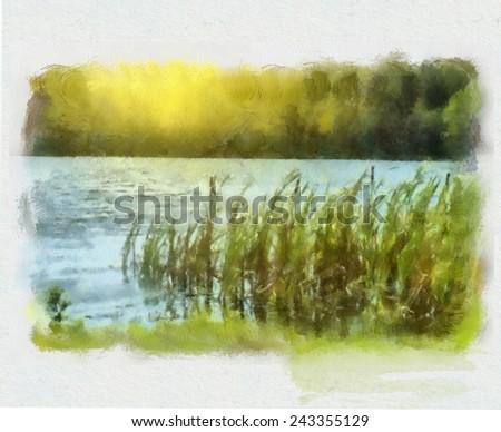 Autumn day on the lake - stock photo