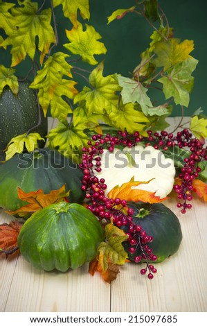 Autumn decoration: group of various kind of ripe squashes - stock photo