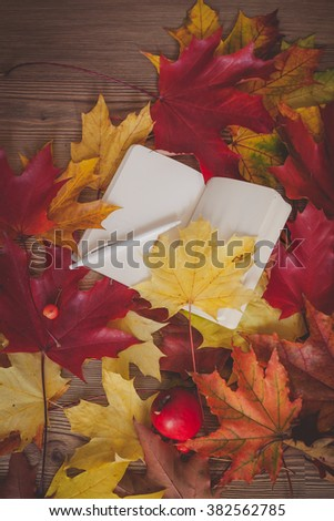 Autumn decoration with colorful dry leaves, red apple and open book