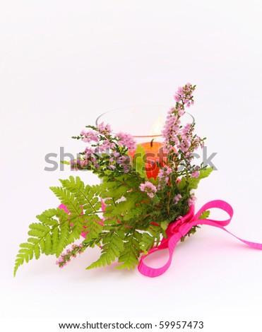 Autumn decorations on lila background - stock photo