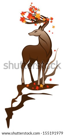 autumn deer with maple branches among horns - stock photo