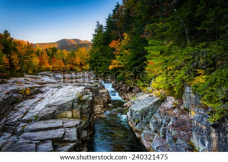 Autumn evening view of Rocky Gorge, on the Kancamagus Highway, in White Mountain National Forest, New Hampshire. - stock photo
