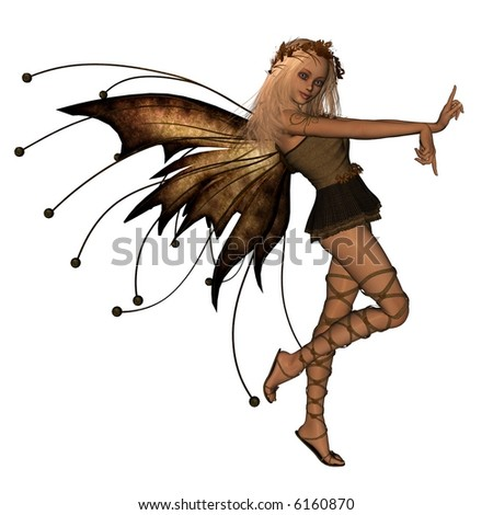 Autumn Fairy - 1, Cute blonde fairy in Autumn (fall) colours, 3d digitally rendered illustration