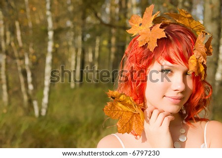 Autumn fairy - pretty young lady