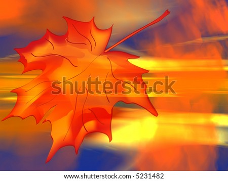 Autumn Fire a Leaf of a Maple