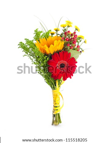 Autumn flowers, bouquet from gerber and sunflowers - stock photo