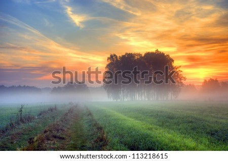 Autumn fog at misty fields in Poland - stock photo