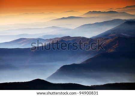 Autumn foggy landscape in Parang Mountains, Romania, Europe - stock photo