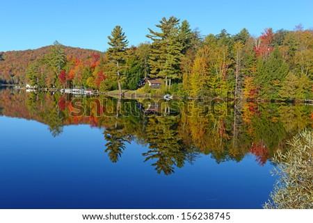 Autumn Foliage: Fall Color in the Adirondacks New York - stock photo