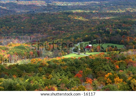 Autumn foliage in valley with red barn