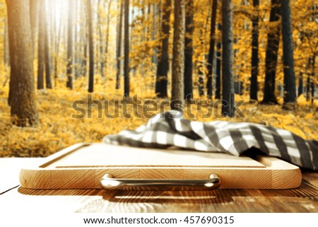 autumn forest and kitchen desk