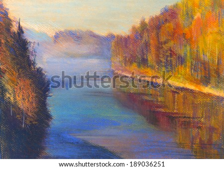 Autumn forest and river and sunlight - stock photo