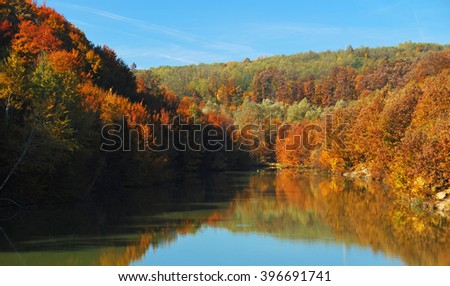 Autumn forest reflected on lake - stock photo