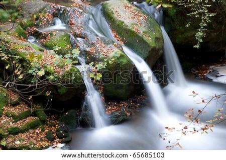 Autumn forest waterfall - stock photo