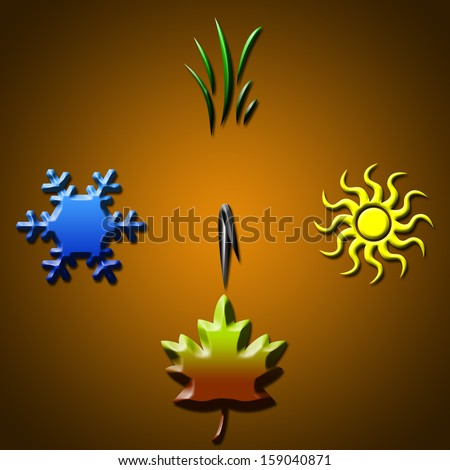 Autumn. Four seasons concept in shape of clock - stock photo