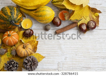 Autumn Frame Decoration on Painted Wood with Pumpkins,Chestnuts,Acorns, Cinnamon and Candles - stock photo