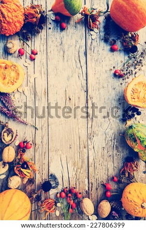 Autumn frame, space for text - stock photo