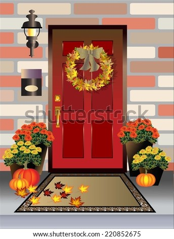 Autumn front door and porch  displaying fall decor of pumpkins, wreath, leaves, potted chrysanthemums and pumpkins