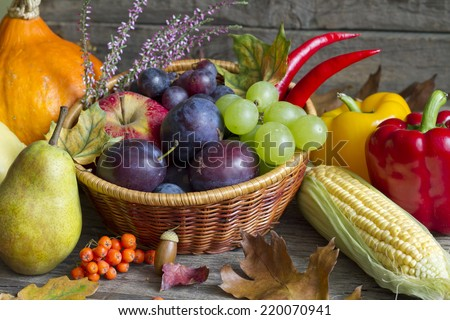 Autumn fruits and vegetables abstract still life - stock photo