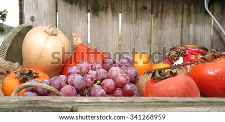 Autumn fruits and vegetables under a wooden background - stock photo