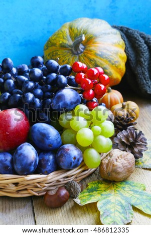 Autumn fruits assortment with grapes, plums, apples and walnuts and ...