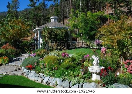 Autumn Garden & Gazebo - stock photo