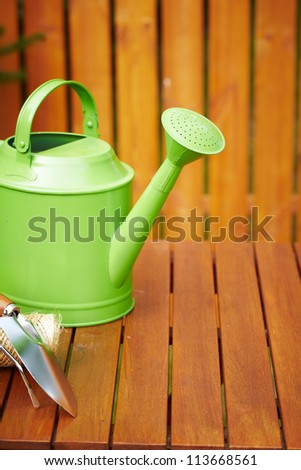 Autumn garden tools background - stock photo