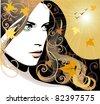 Autumn girl JPG - stock vector