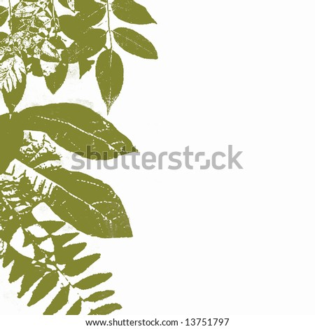 Autumn Green Grunge Leaves With White Copyspace, See Vector Also In My Portfolio - stock photo