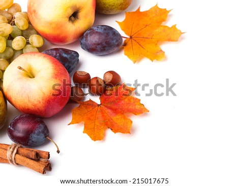 Autumn harvest. Apples, plums, grapes and yellow leaves on white background - stock photo