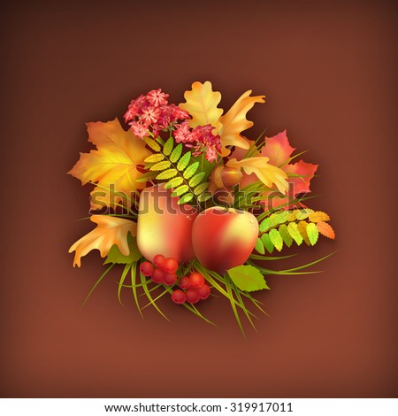 Autumn harvest background with apple, pear, flowers, oak and maple fall leaves, rowan berry, grass - stock photo