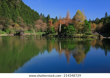 Autumn has come to the lake beautiful reflection, view from the Taiwan - stock photo