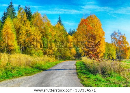 Autumn HDR landscape with fields, trees, forests and blue sky with white clouds - stock photo